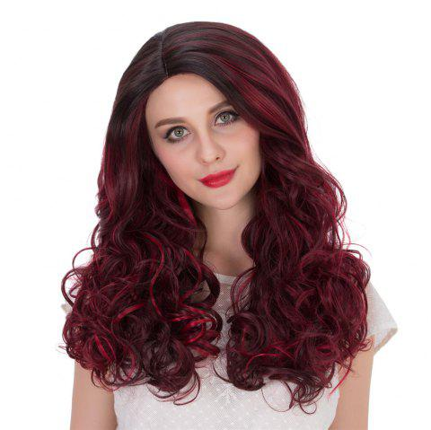 Long Wine Red Highlight Wavy Side Parting Perruque synthétique - multicolore