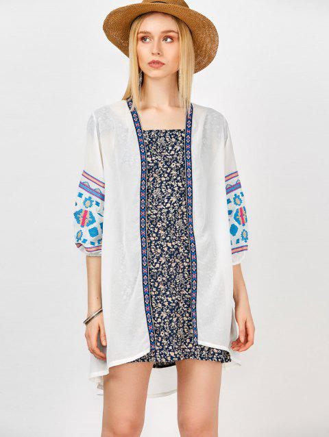 Longline Embroidered Open Front Kimono - WHITE ONE SIZE