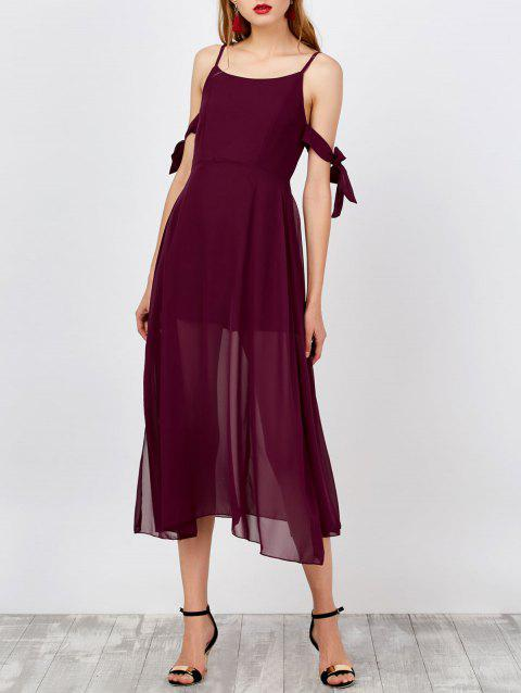Spaghetti Strap Side Slit Boho Dress - WINE RED S