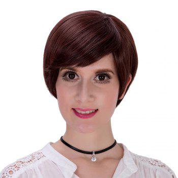 Sophisticated Short Black Full Bang Capless Straight Synthetic Wig For Women