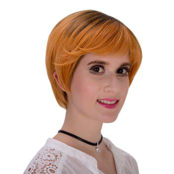 Fashion Short Layered Synthetic Straight Black Brown Ombre Women's Adiors Wig