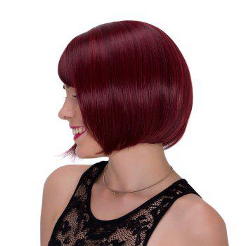 Vogue Wine Red Short Straight Side Bang Synthetic Adiors Wig For Women