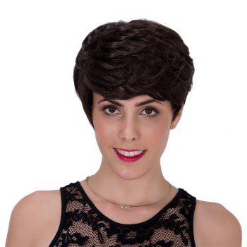 Stylish Black Brown Short Fluffy Straight Layered Capless Adiors Wig For Women