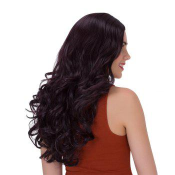 Fluffy Adiors Long Wavy Middle Parting Synthetic Wig - PURPLISH RED