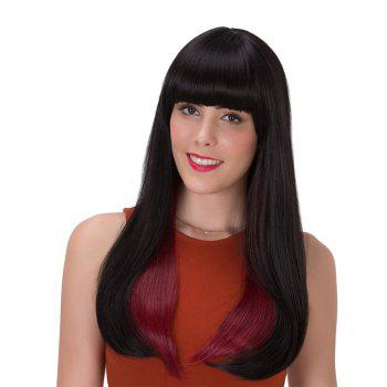 Stunning Straight Long Black Ombre Wine Red Synthetic Adiors Wig For Women - COLORMIX