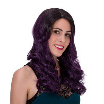 Trendy Long Adiors Fluffy Wavy Black Ombre Dark Purple Synthetic Wig For Women - COLORMIX