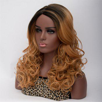Women's Long Side Parting Curly Mixed Color Fashion Synthetic Hair Wig - COLORMIX