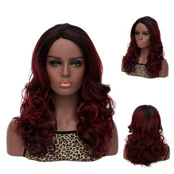 Women's Long Side Parting Curly Black Mixed Deep Brown Fashion Synthetic Hair Wig
