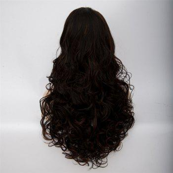 Women's Long Side Parting Curly Black Brown Fashion Synthetic Hair Wig - BLACK BROWN