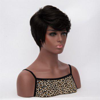 Impressive Women's Black Short Fluffy Straight Side Bang Synthetic Wig - BLACK