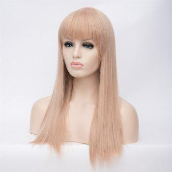 Impressive Women's Long Offwhite Straight Full Bang Synthetic Wig - GREY/WHITE