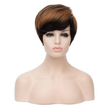 Bouncy Women's Mixed Color Short Fluffy Straight Side Bang Synthetic Wig