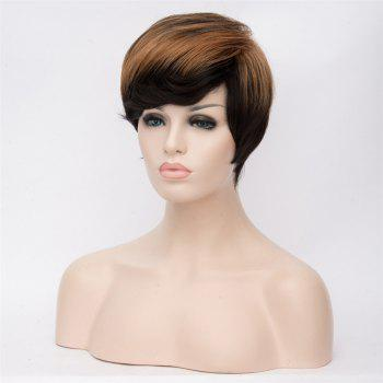 Bouncy Women's Mixed Color Short Fluffy Straight Side Bang Synthetic Wig - COLORMIX