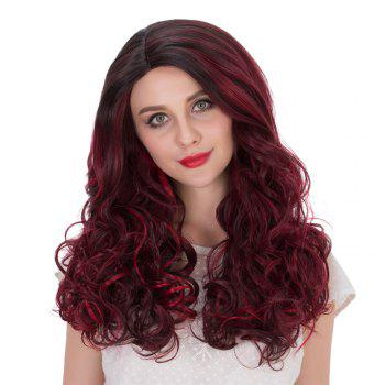 Long Wine Red Highlight Wavy Side Parting Synthetic Wig
