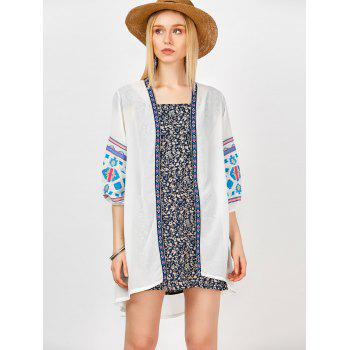 Longline Embroidered Open Front Kimono