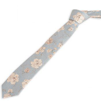 Flowers Printing Neck Tie - BLUE BLUE