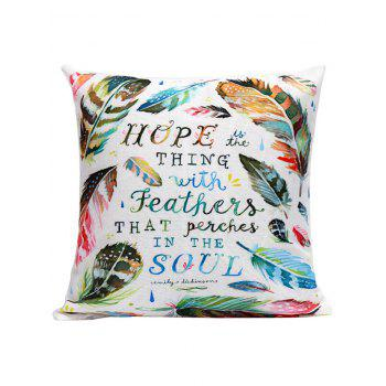 Feather Letter Decorative Linen Pillow Case