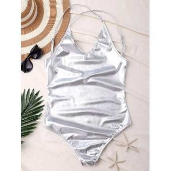 Backless Metallic One Piece Swimsuit
