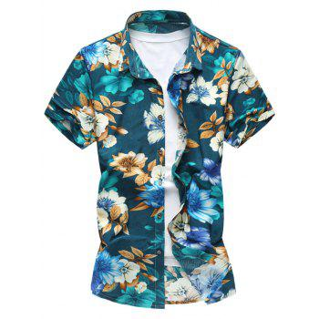 Button Front Flower Short Sleeve Shirt