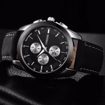 OUKESHI Faux Leather Tachymeter Watch - BLACK