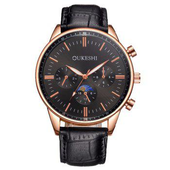 OUKESHI Faux Leather Quartz Watch