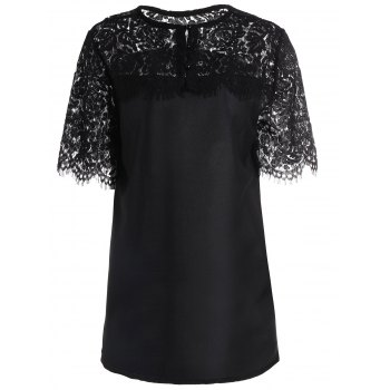 Short Sleeve Lace Insert Blouse