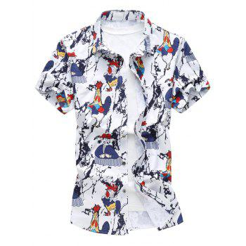 Cock Print Short Sleeve Shirt