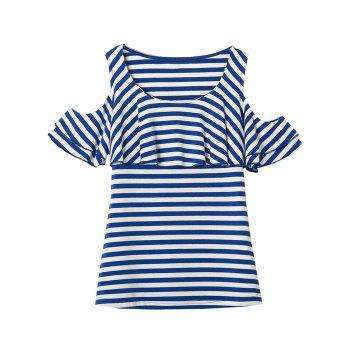 Cold Shoulder Striped Flounce Tee