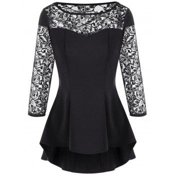 Lace Trim High Low Hem Peplum Blouse