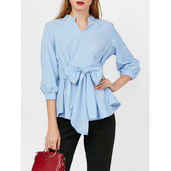 V Neck Ruched Belt Blouse