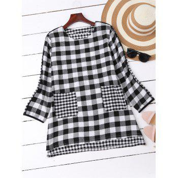 Plaid High Low Blouse with Pockets