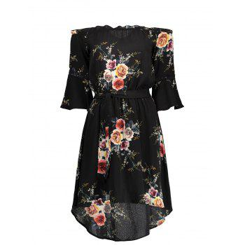 Floral Off The Shoulder Flare Sleeve Dress