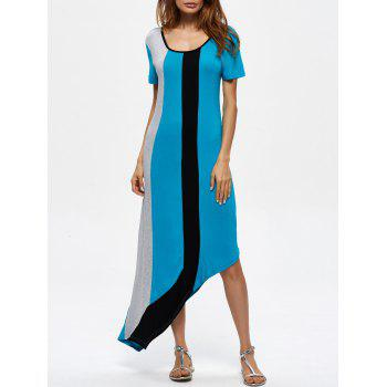 Contrast Panel Asymmetrical Casual Dress Long