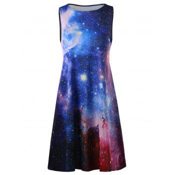 Plus Size Sleeveless Casual A Line Galaxy Dress