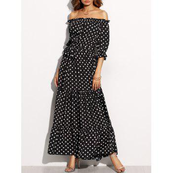 Off The Shoulder Polka Dot Belted Dress