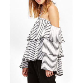 Cold Shoulder Striped Flounce Layer Blouse - WHITE M