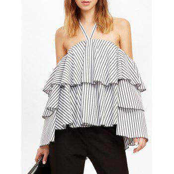 Buy Halter Striped Flounce Layer Blouse WHITE