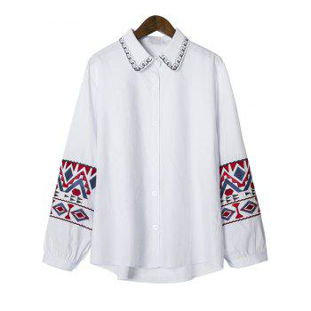 Geometric Embroidered Button Up Shirt