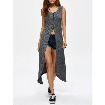 Zipper Design Asymmetrical Longline Tank Top