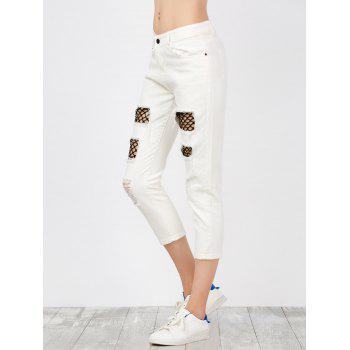 Mid Rise Fishnet Panel Distressed Jeans - WHITE M