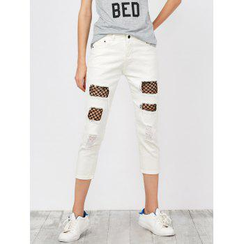 Mid Rise Fishnet Panel Distressed Jeans