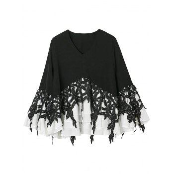 Crochet Lace Insert Layer Flounce Top