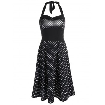 Polka Dot Print Halter Vintage Dress