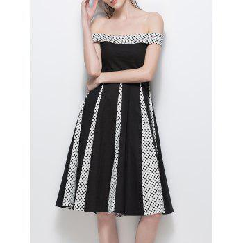 Off The Shoulder Polka Dot Insert Vintage Dress