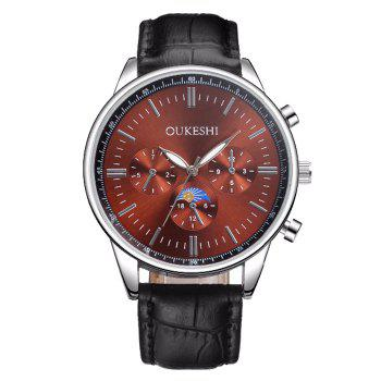 OUKESHI Faux Leather Number Watch