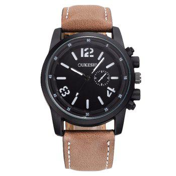 OUKESHI Faux Leather Analog Watch