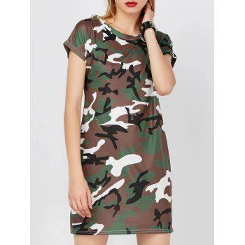 Mini Camo T-Shirt Shift Dress