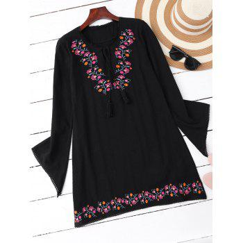 Mini Embroidered Casual Long Sleeve Dress
