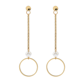 Faux Pearl Circle Chain Earrings