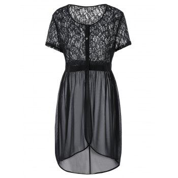 Plus Size Lace Trim Overlap High Low Dress